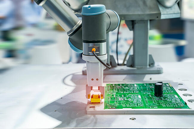 Close up of electronic contract manufacturing.