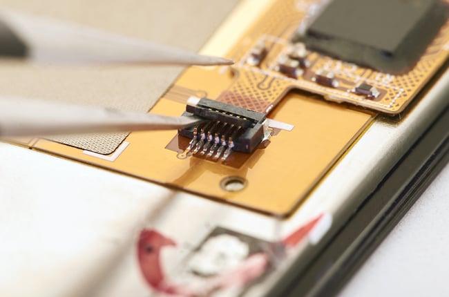 Close up of a rigid-flex pcb.