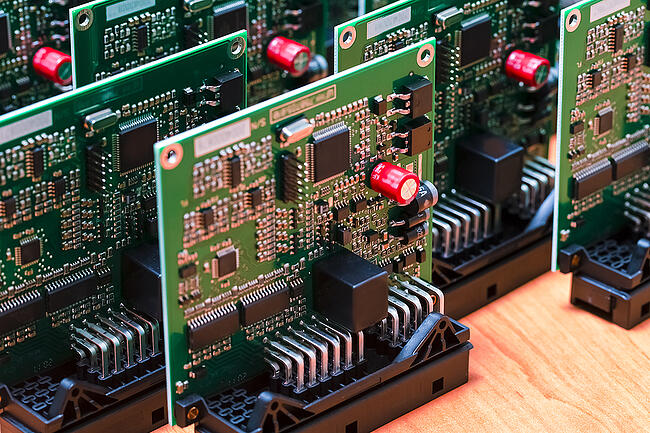 Several printed circuit boards with surface mount technology.