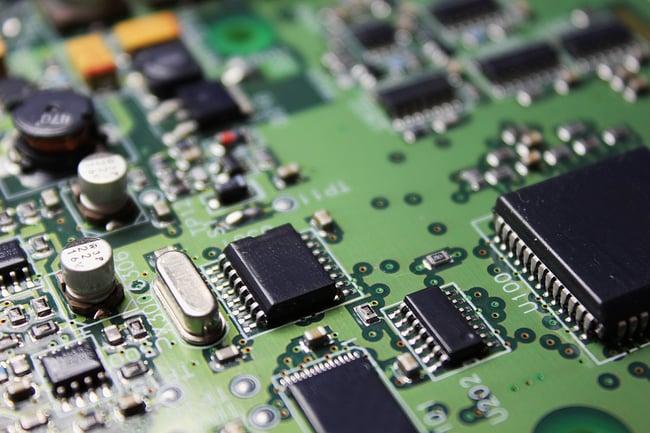 Close up photo of printed circuit board.