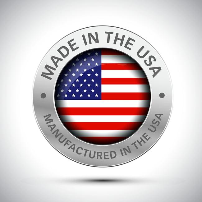 Made in the U.S.A. button. Manufactured in the U.S.A.