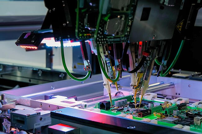 Automated printed circuit board manufacturing and assembly.