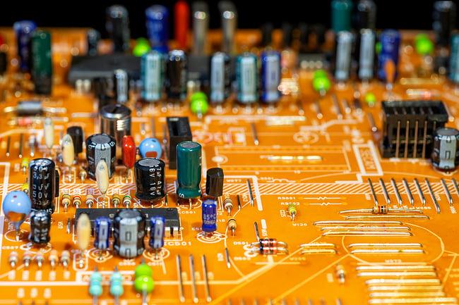 Orange printed circuit board.