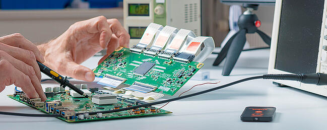 Close up of printed circuit board assembly.